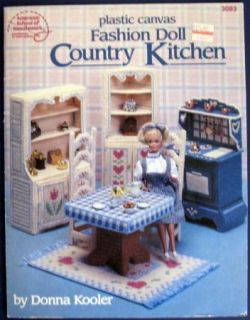 Plastic Canvas Fashion Doll Country Kitchen Pattern Book VTNS Barbie Furniture