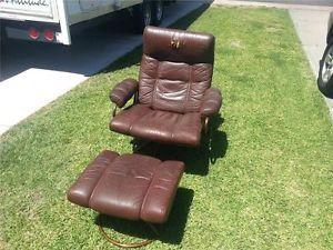 Vtg Mid Century Danish Modern Eames Ekornes Stressless Leather Chair Ottoman