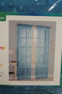 "My Home Aqua Blue Window Curtain Panel with Sequins 54"" w x 84"" L Sky Sheer New"