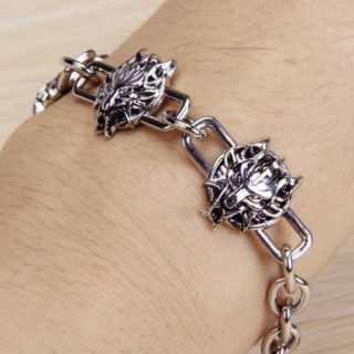 Gothic Party Jewelry Wolf Head Animal Bracelet Wrist Band Bangle Chain Mens Gift