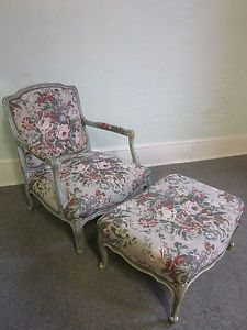 Stoneleigh Ltd Beautiful French Louis XV Fauteuil Living Room Chair Ottoman