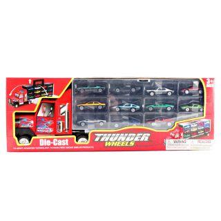 13pc Thunder Wheels Semi Truck Toy Vehicle Race Car Carrier Set