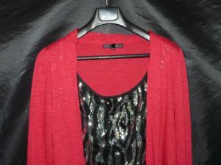 Heart Soul 3X Red Silver Black Sequin Stripe Shirt Twin Set Open Front Cardigan