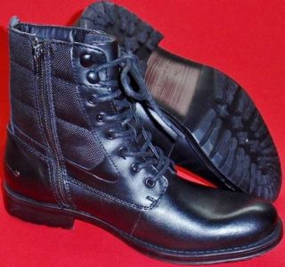 New Men's Marc Anthony Sawyer Black Leather Military Fashion Casual Boots Shoe