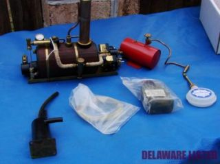 Vintage Pelican V Twin Miniature Live Gas Burner Steam Engine Boiler Tank