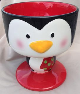 Unique New Penguin Christmas Ceramic Footed Hand Painted Punch or Trifle Bowl