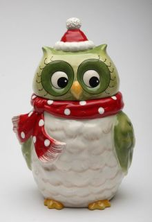 Laurie Furnell Design Ceramic Hand Painted Christmas Owl Cookie Jar 10901