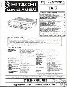 Copy Service Manual Hitachi Ha 6 Int Amp