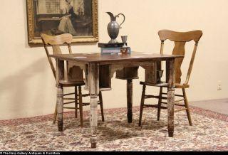Oak 1890 Antique Tavern or Pub Game Table Old Paint Mug Shelves