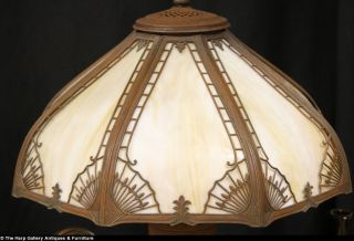 Stained Glass Curved Panel Lamp 1915 Antique
