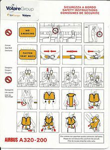 Safety Card Volaregroup Aireurope Volare Airbus A320 200