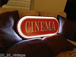 Cinema Lighted Wooden Sign Home Theater System Neon Popcorn Stand Machine Cart