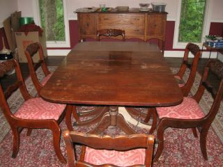 ... 1940s 1950s Tell City Mahogany Drop Leaf Table And 6 Rose Back Chairs  ... Part 84