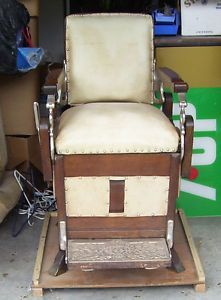 Antique Wood Barber Chair Victorian Vintage Koken Congress One Lever RARE