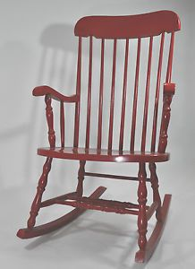 Vintage Retro Red Rocking Chair Adult Size Painted Solid Wood