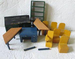 Vtg Wood Doll House Furniture Lot Book Shelf Type Case Bank Desk Table Chair Sig