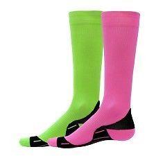 Neon Compression Running Socks High Tech Performance Knee High Green Pink