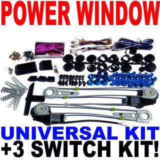 Universal Premium Electric Power Window Kit 3 Switch Kit Fast USA Shipping New