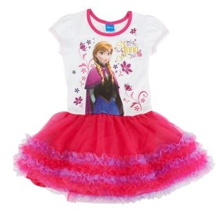 Disney Frozen Anna Short Sleeve Shimmer Mesh Tutu Dress Pink Size s 2 4