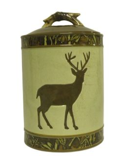 Deer Silhouette Camouflage Ceramic Cookie Jar Hunters Cabin Lodge Home Kitchen