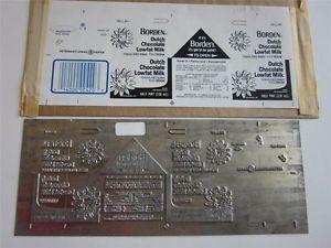 Vtg Metal Printers Plate Printing Elsie The Cow Borden Dairy Milk Carton Label