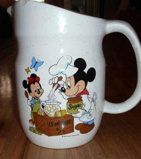 Walt Disney Productions Mickey Mouse Pitcher Lemonade Stand Cartoon 1980'S