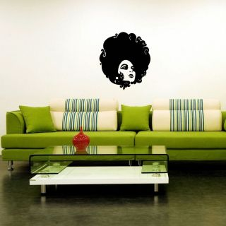 Wall Vinyl Sticker Decals Housewares Salon Fashion Beauty Lady Face Hair SV1904