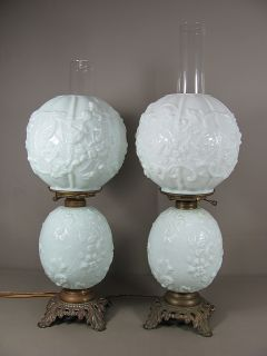 Pair of Fostoria White Milk Glass Spider Web Flowers Pattern Parlor Lamps
