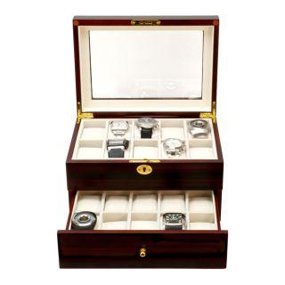 20 Watch Cherry Wood Box Glass Top Display Organizer Jewelry Storage Lock Case