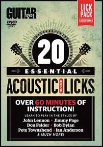 20 Essential Beginners Acoustic Rock Blues Licks Guitar Instructional DVD PDF