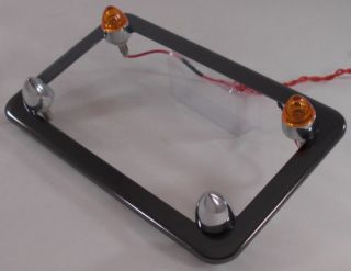 Black Chrome Motorcycle License Plate Frame w Amber LED Spike Fastener Bolts