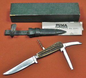 Vintage German Germany Solingen Puma Gamekeeper's Hunting Knife Folding Tools