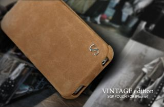 SGP Leather Vintage Edition Brown Case Cover iPhone 4