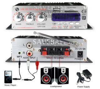 2X20W Mini Hi Fi Stereo Audio Power Amplifier USB  SD Port Remote Control