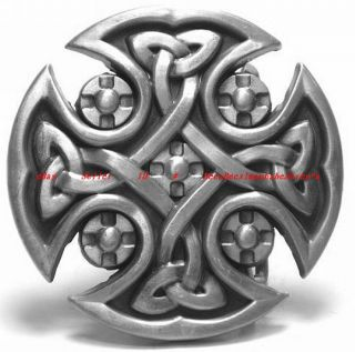 BBU0667I Celtic Trinity Cross Eternity Knot Shield Tribal Tattoo Art Belt Buckle