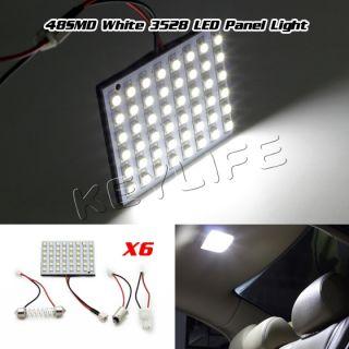 6 Pcs 3528 LED Light Panel White Car T10 BA9S Festoon Dome Bulb Adapter