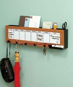 Calendar Wall Caddy Organizer w Hooks Pet Leash Key Purse Mail Bill Holder Rack