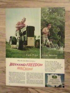 John Deere Lawn Garden Tractor Advertisement Fishing Ad