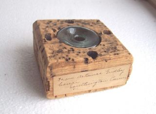 1840 Pontiled Ink Bottle in Cork Quill Pen Holder Gridley Southington Ct Label