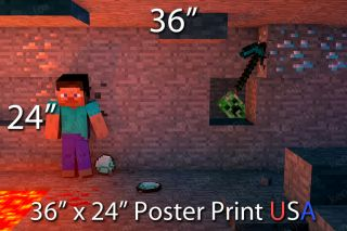Minecraft Pcminecraft Huge Poster Print 36x24 Steve Creeper Cave Diamond Pickaxe