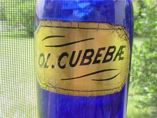 Apothecary Cobalt Blue OL Cubebae Glass Gold Leaf Label Medicines RARE Antique