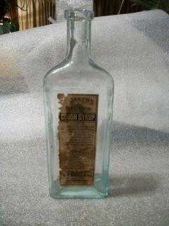 Old Embossed Glass Bottle Dr Baker's Plantation Cough Syrup w Partial Label