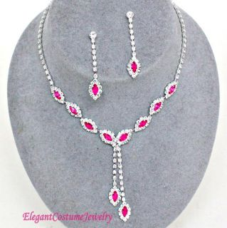 Hot Pink Crystal Prom Bridal Bridesmaid Necklace Set Wedding Elegant Jewelry