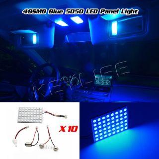 10 Pcs 5050 LED Light Panel Blue Car T10 BA9S Festoon Dome Bulb Adapter