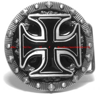 BBU1776J Medieval Crusade Celtic Cross Tribal Tattoo Stub Round Belt Buckle