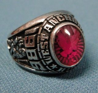 Mens 1986 West Anchorage Alaska High School Class Ring Red Stone
