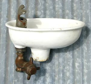Antique Drinking Fountain Cast Iron Porcelain Brass Vintage Sink Water Cooler