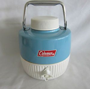 Vintage Coleman Cooler Thermos 1 Gallon Water Jug Baby Blue Metal Made Canada