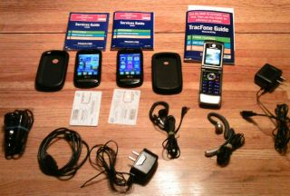 LG 800G Black Tracfone Cellular Phones Bundle Triple Minute Phones 616960023739