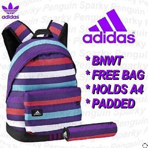 Adidas Red Purple Striped Womens Girls Backpack Rucksack School Bag Free Bag